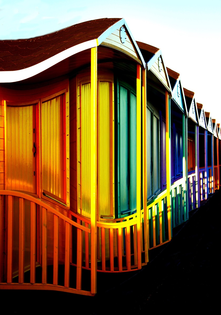 12. lined up beach huts