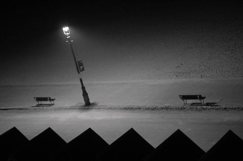 Bournemouth beach on a winter's night.