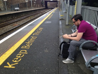 Waiting for the Dart train in Dublin